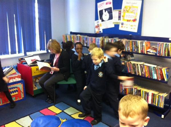 We had fun looking around the library.