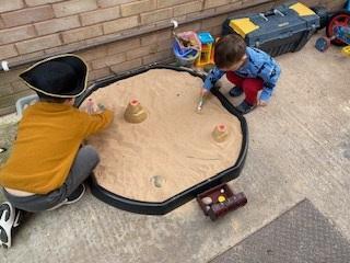 Pirates digging for treasure