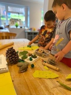 Making jungle playdough