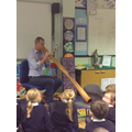 Mr Thomas showed us how to play the digeridoo.