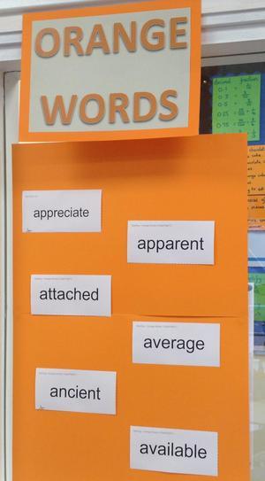 Orange words -additional target words