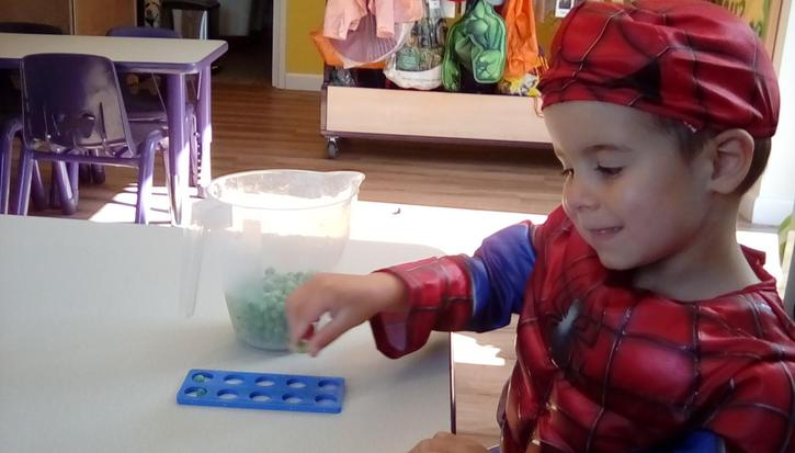 We used frozen peas to count with the numicon