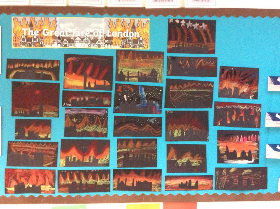 Year 2 have experimented with oil pastels and black card to create silhouettes of TGFOL!