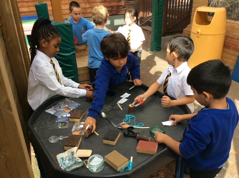 In Science the children are exploring different types of materials and their properties.