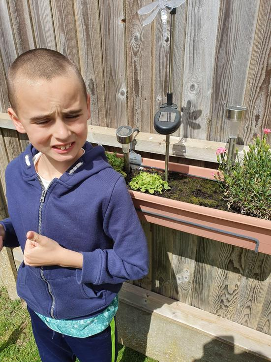 Liam is gardening