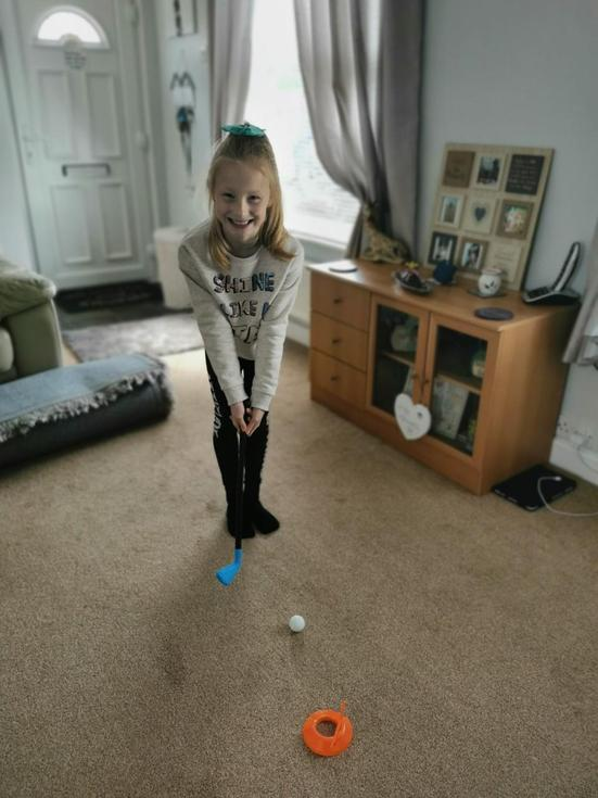 Indoor golf from Nanny ... great exercise