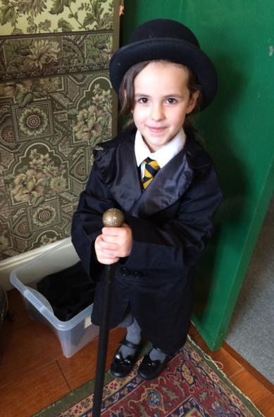 Alayla dressed as Willy Wonka.