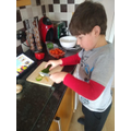 Ethan working hard at making a healthy snack for DnT