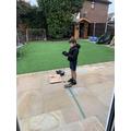 Ollie the carpenter working hard