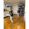Tom and Iris doing Karate by Zoom!