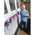 Callum and his bunting
