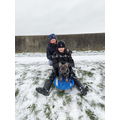 Joseph sledging with James
