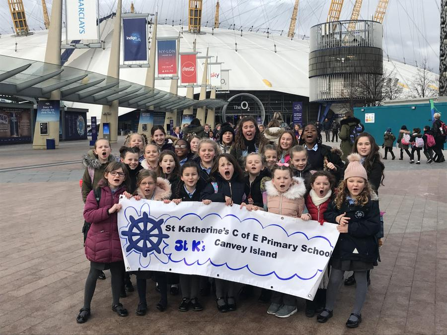 Choir singing at the O2 with other schools