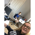 Callum at home with the boss!