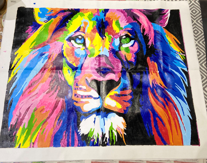 Practicing Painting - Colourful Lion.