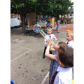 we used big tubes to blow bubbles