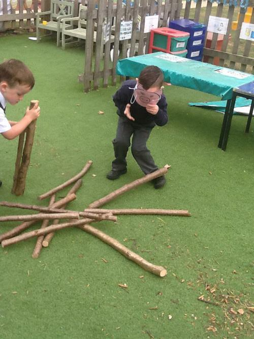 The second pig made his house of sticks.