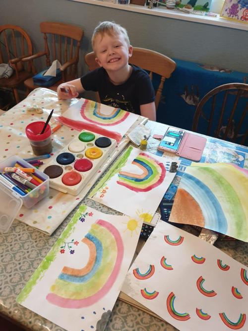 Painting rainbows!