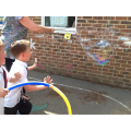 Mrs Harris made a large bubble using string.