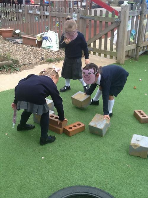 The third pig made his house of bricks.
