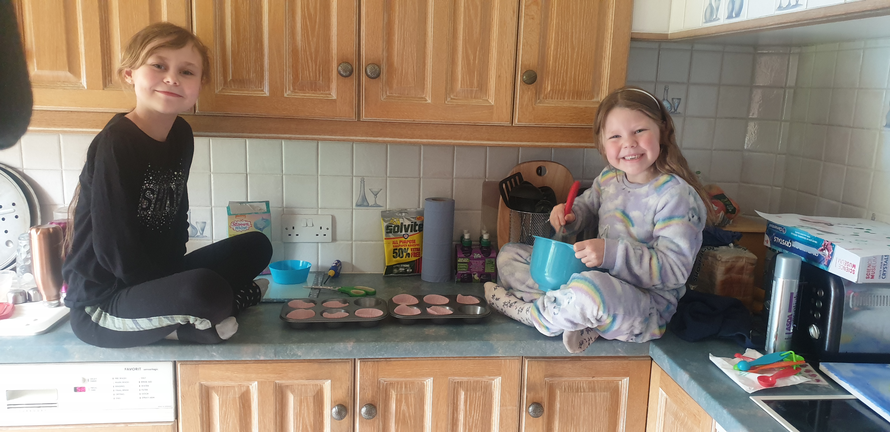 Baking cakes together!