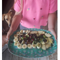Olive made a fruit cake. Well done Olive