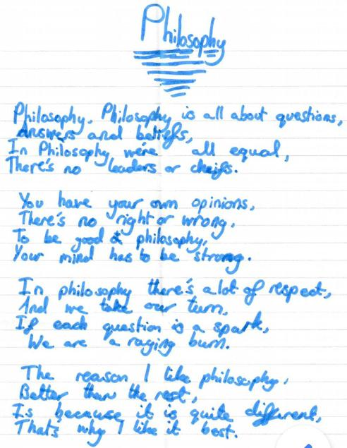 'Philosophy', a poem written at home by a Y5 pupil