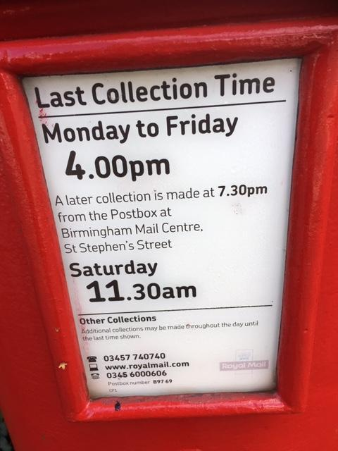 What time is the post collected on a Saturday?