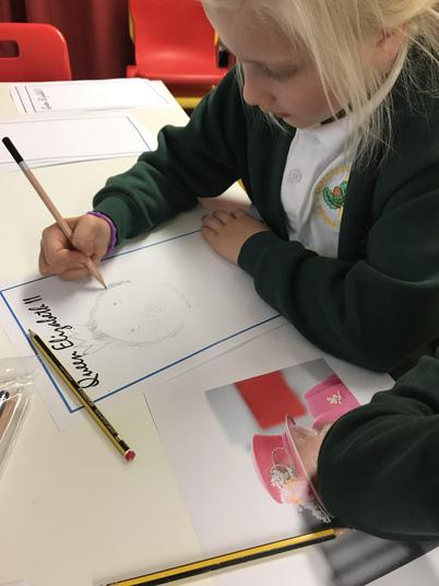 We used sketching pencils to draw them.