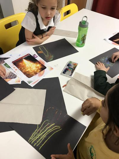 We used pastels to make firework pictures.