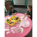 Messy fun with the playdough we made ingolden time