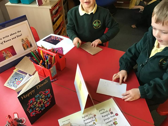We made Diwali cards for our friends.