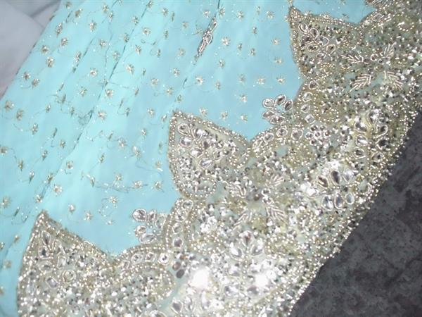 Shiny blue sari
