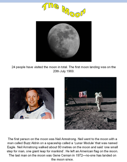 Information poster about the moon