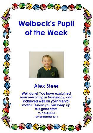 Alex Steer Pupil of the Week