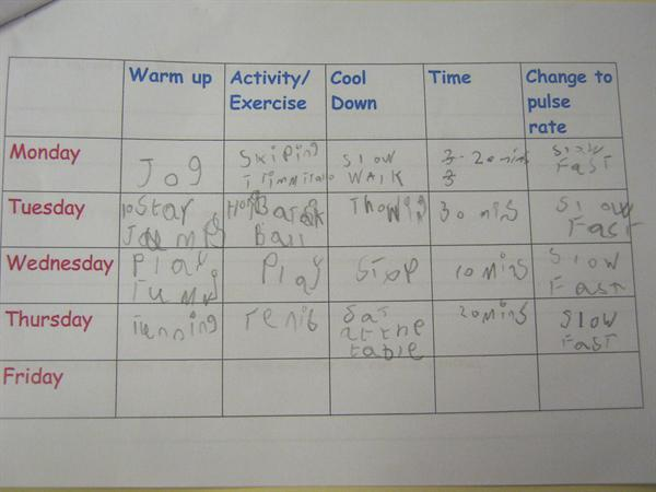 Science work showing a page from an exercise log
