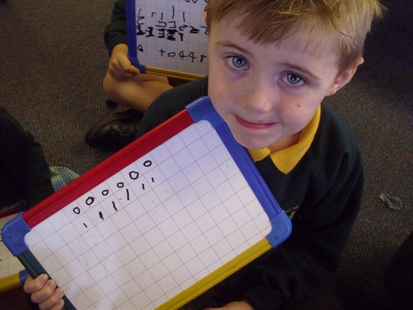 We try hard to write each number in the squares
