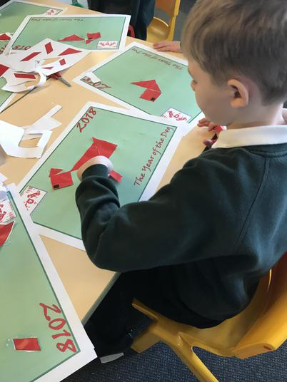 We had to make a dog using a range of 2D shapes.