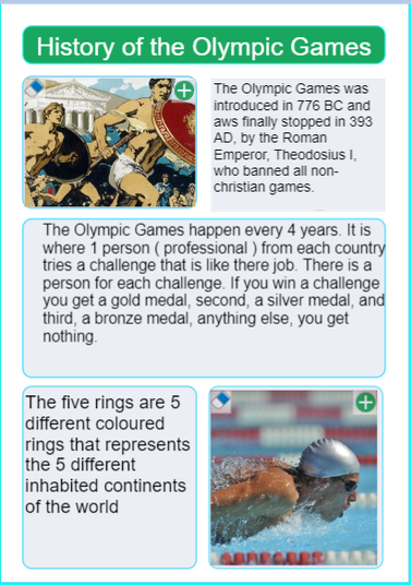 Research of the history of the Olympics