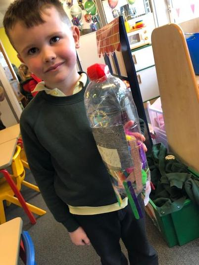 Create a model using recyclable materials