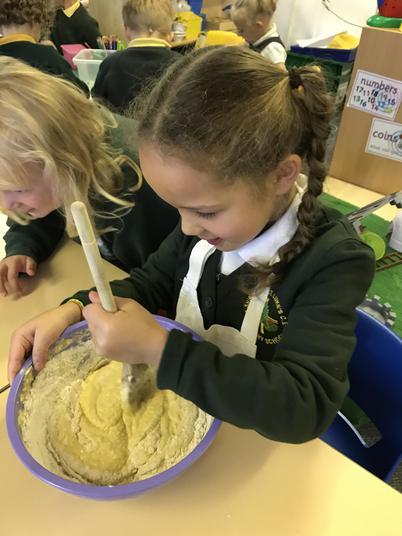 Adding the flour and eggs