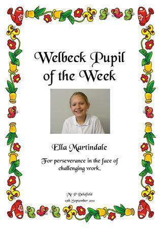 Ella Martindale, pupil of the week