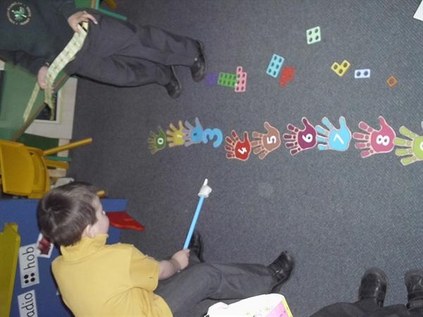 Counting along the number line.