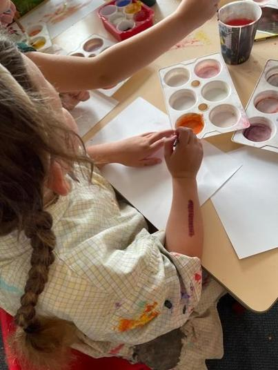 We mixed different powders to get the correct colour