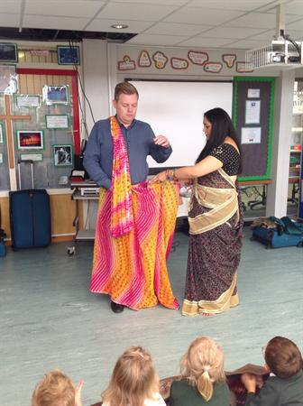 Learning how to put on a sari