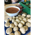Look at our yummy soup and the bread we made