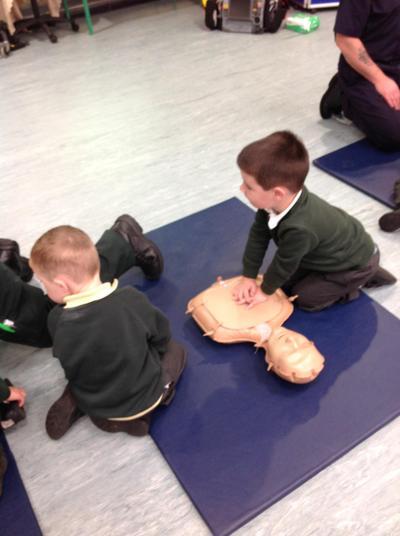We practised CPR on the dummies.