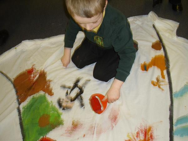 We used rollers and paintbrushes.