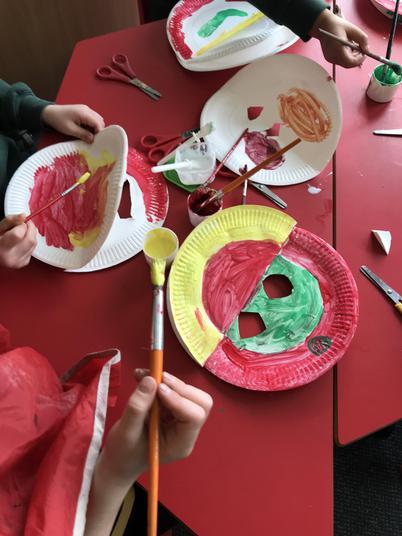 We made Chinese dragon masks.