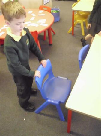 I push all the chairs under after each lesson